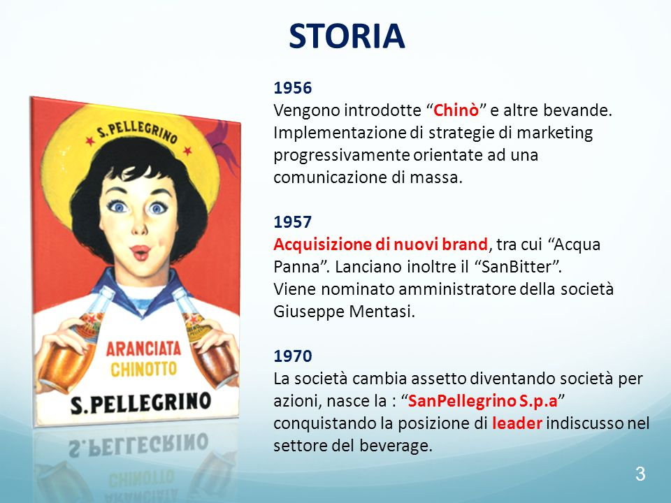 STORIA 1956 Vengono introdotte Chinò e altre bevande.