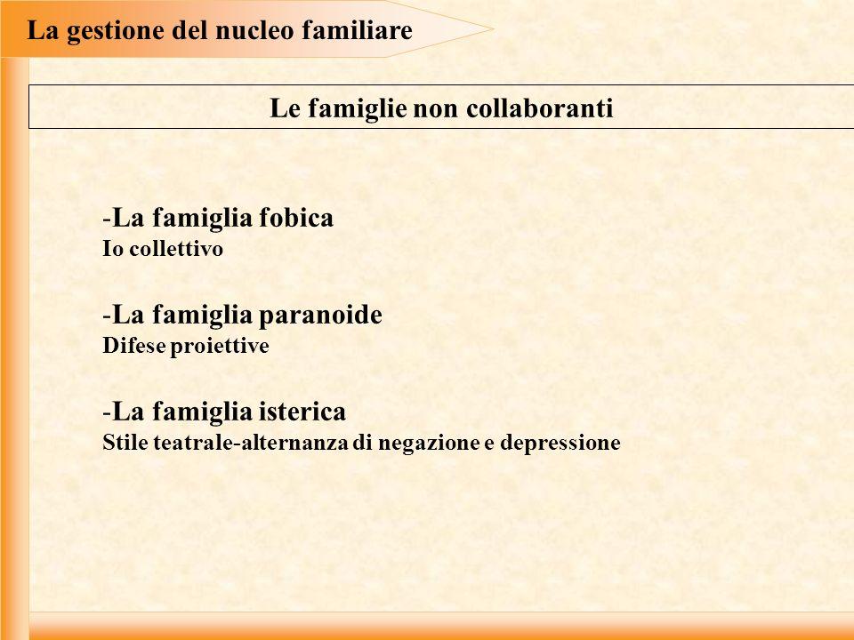 La gestione del nucleo familiare Le famiglie non collaboranti
