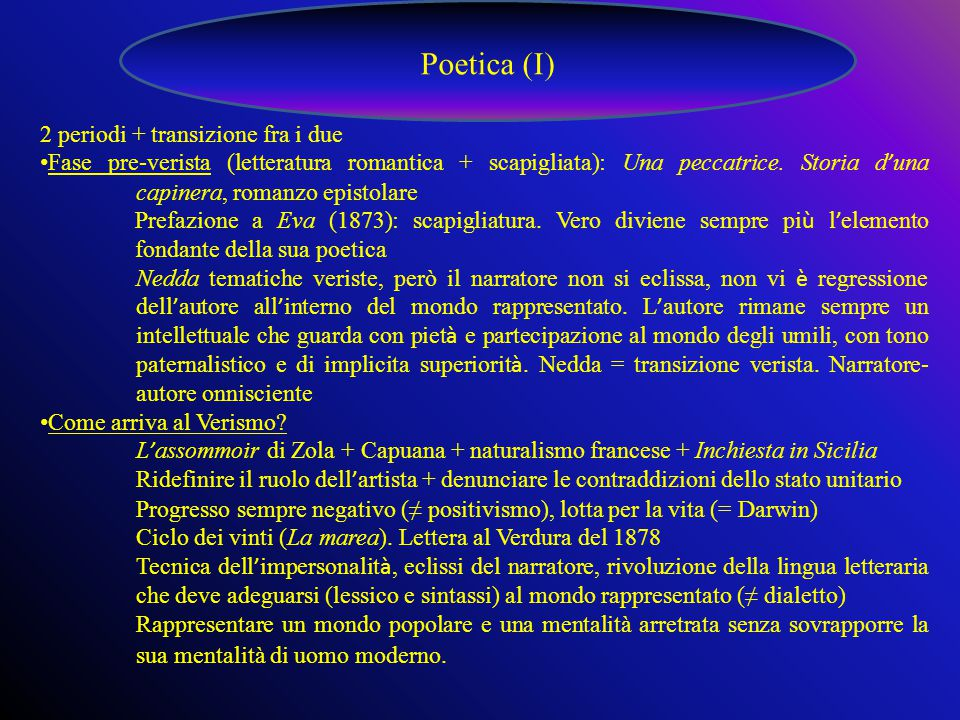 Poetica (I) 2 periodi + transizione fra i due