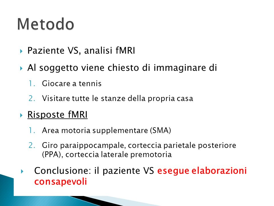 Metodo Paziente VS, analisi fMRI
