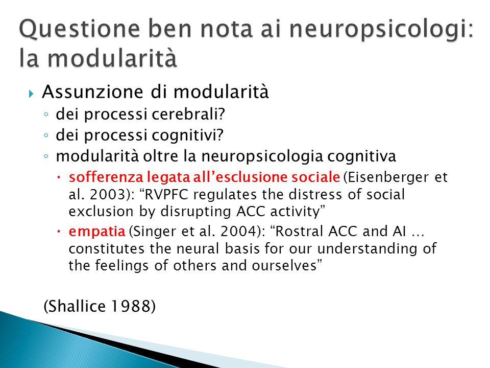 Questione ben nota ai neuropsicologi: la modularità
