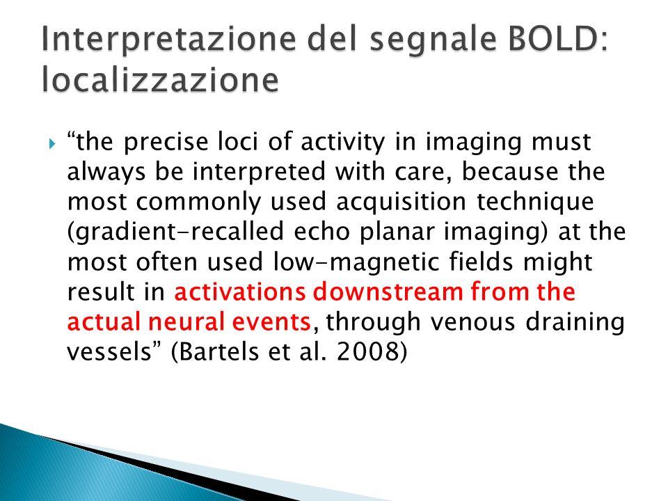 Interpretazione del segnale BOLD: localizzazione