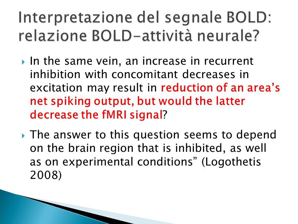 Interpretazione del segnale BOLD: relazione BOLD-attività neurale