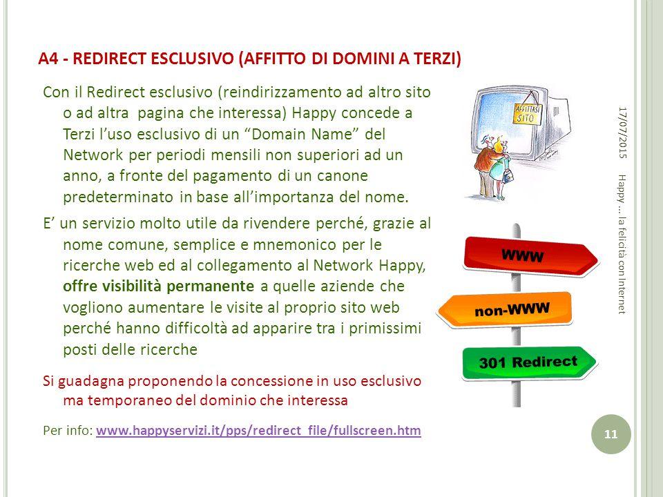 A4 - REDIRECT ESCLUSIVO (AFFITTO DI DOMINI A TERZI)