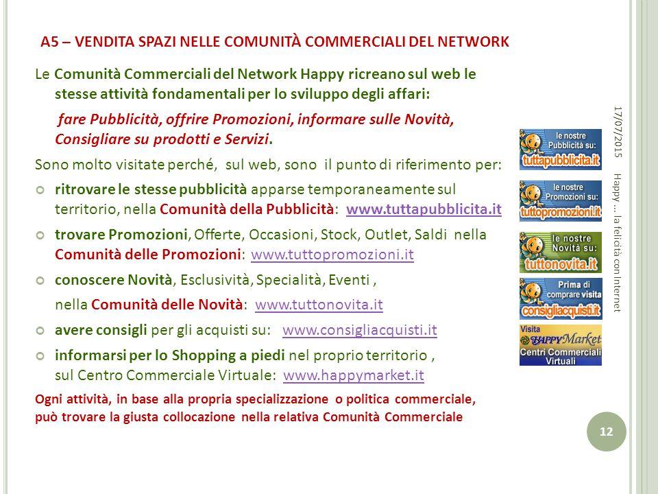 A5 – VENDITA SPAZI NELLE COMUNITÀ COMMERCIALI DEL NETWORK