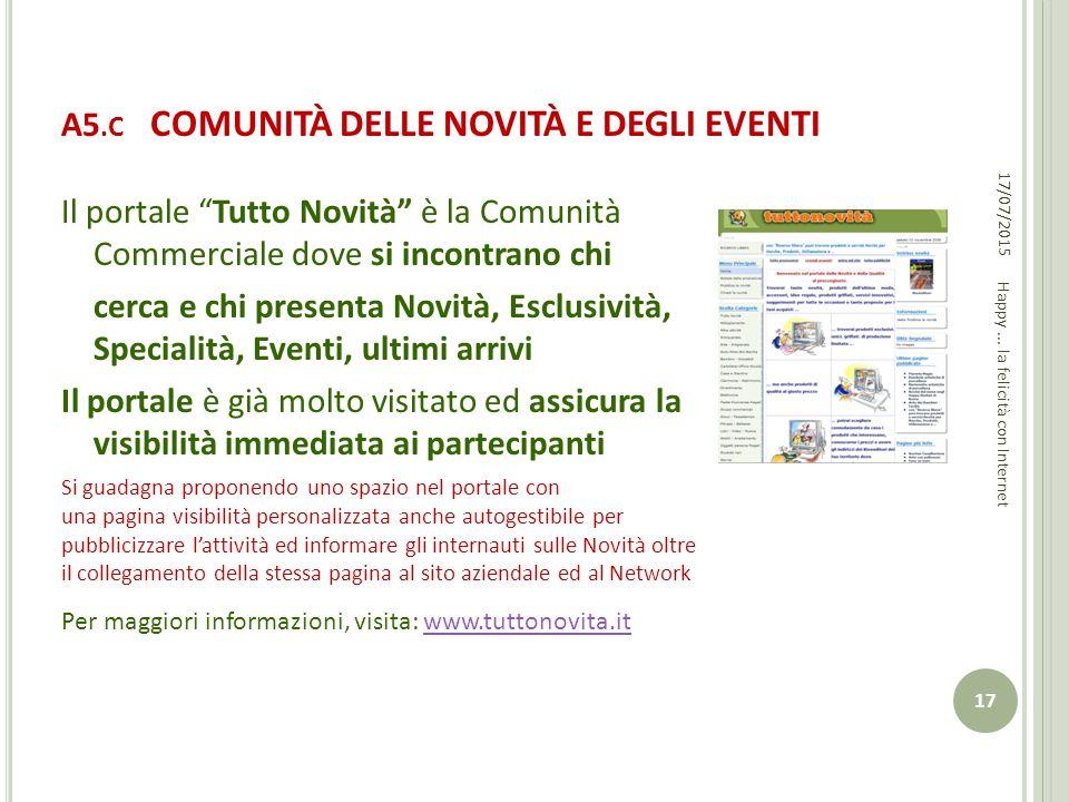 A5.C COMUNITÀ DELLE NOVITÀ E DEGLI EVENTI