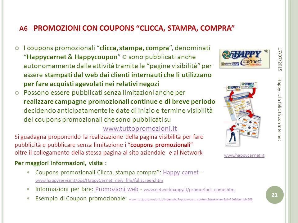 A6 PROMOZIONI CON COUPONS CLICCA, STAMPA, COMPRA