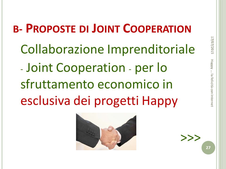 b- Proposte di Joint Cooperation