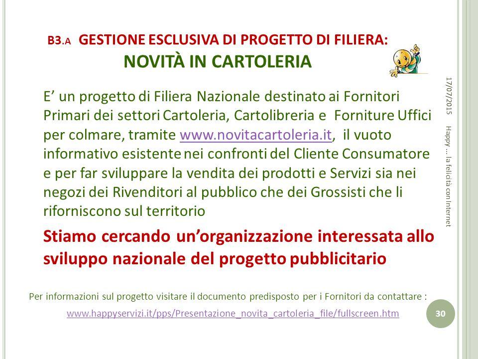 B3.A GESTIONE ESCLUSIVA DI PROGETTO DI FILIERA: NOVITÀ IN CARTOLERIA
