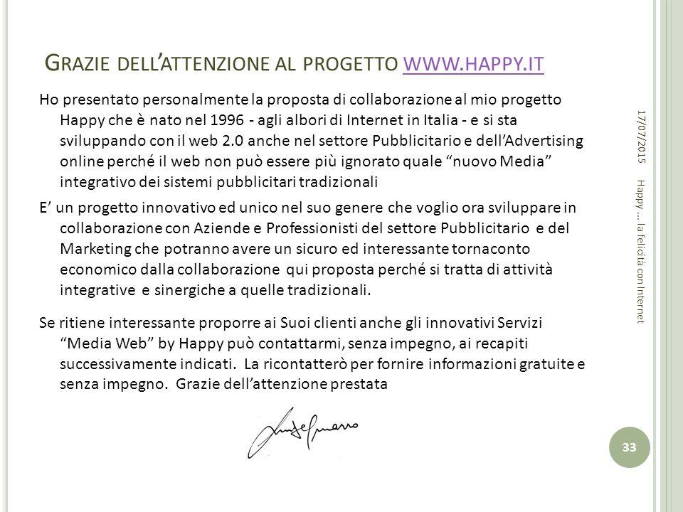 Grazie dell'attenzione al progetto www.happy.it