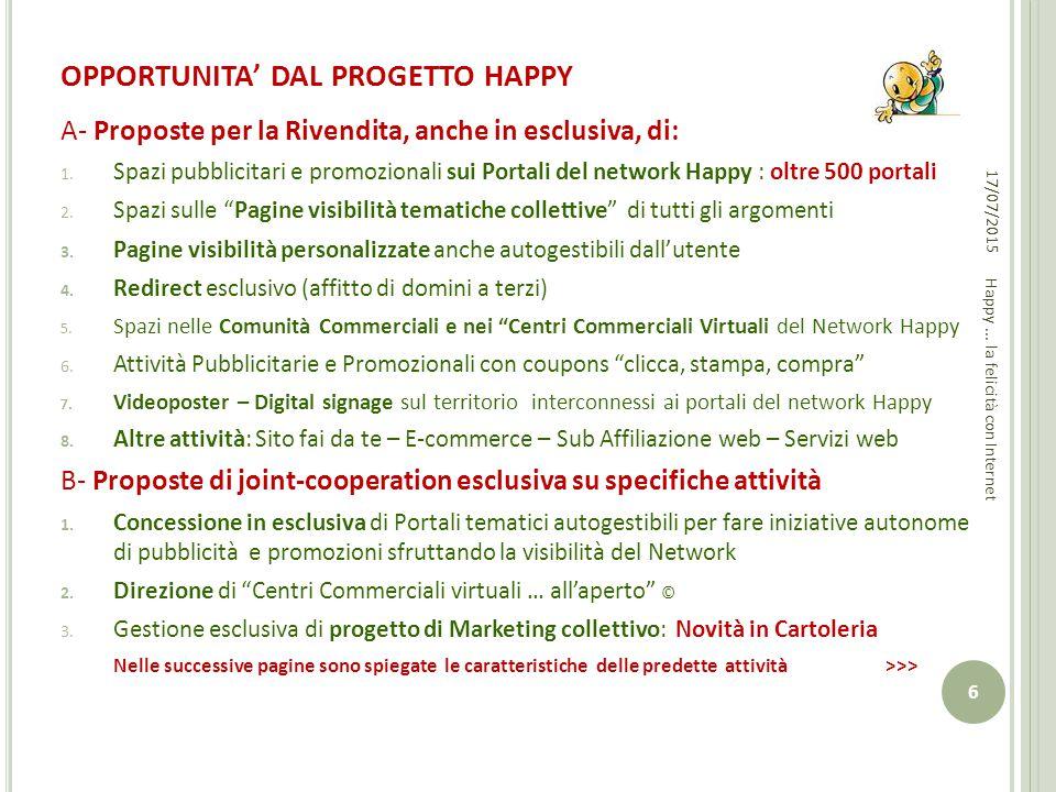 OPPORTUNITA' DAL PROGETTO HAPPY