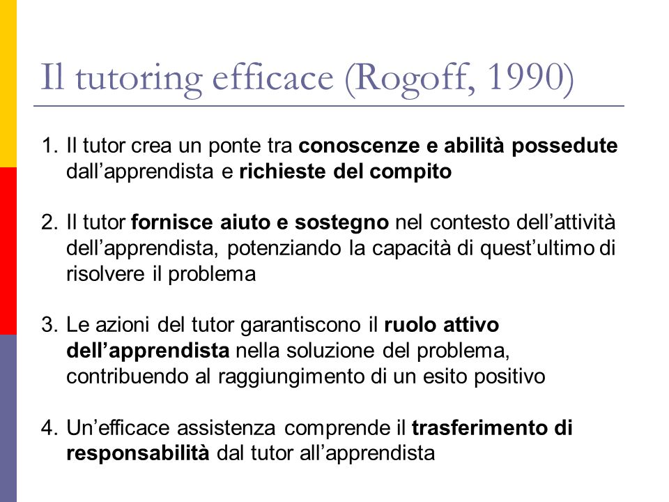Il tutoring efficace (Rogoff, 1990)