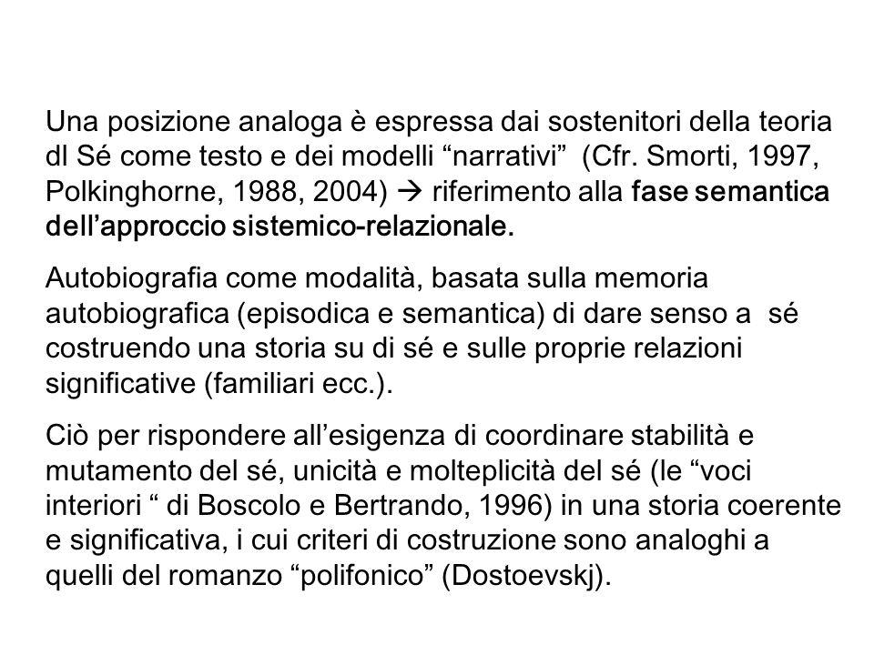 Una posizione analoga è espressa dai sostenitori della teoria dl Sé come testo e dei modelli narrativi (Cfr. Smorti, 1997, Polkinghorne, 1988, 2004)  riferimento alla fase semantica dell'approccio sistemico-relazionale.