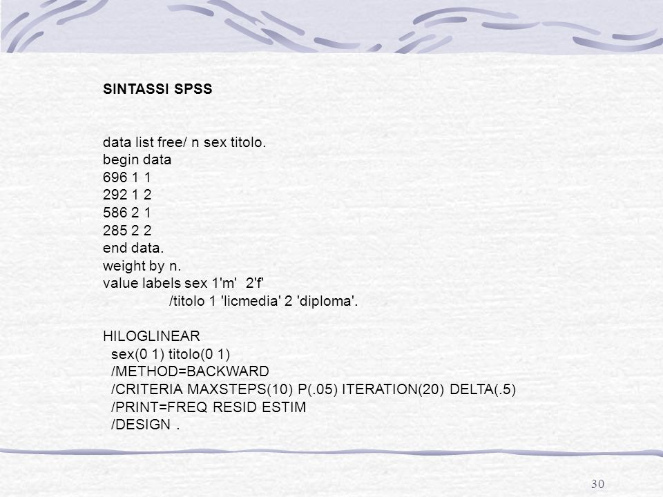 SINTASSI SPSS data list free/ n sex titolo. begin data. 696 1 1. 292 1 2. 586 2 1. 285 2 2. end data.