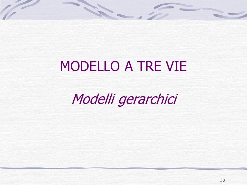 MODELLO A TRE VIE Modelli gerarchici