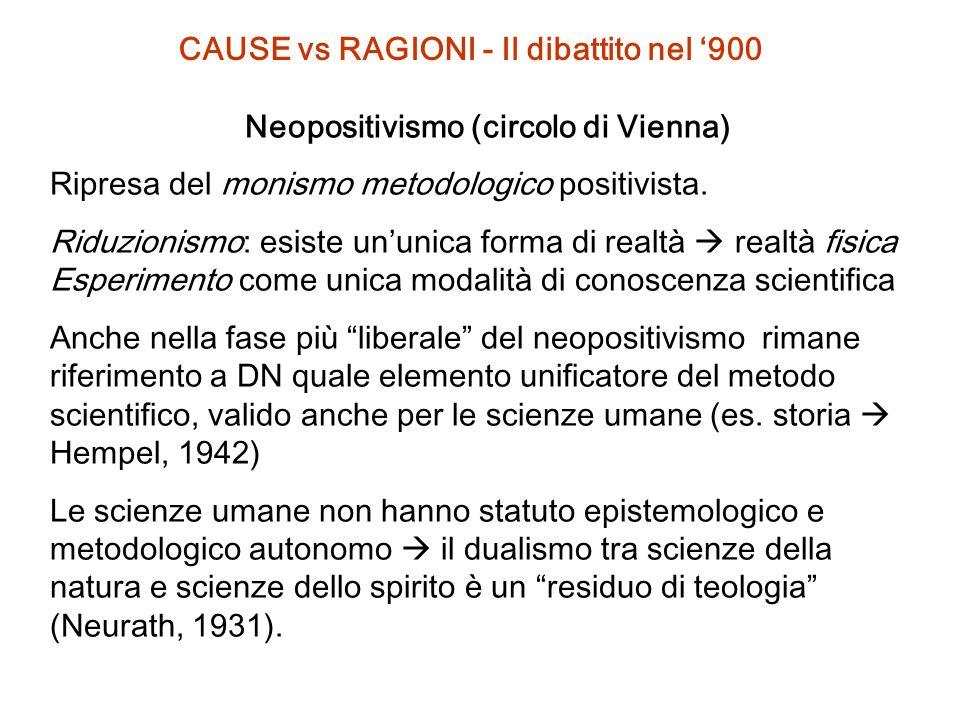 CAUSE vs RAGIONI - Il dibattito nel '900