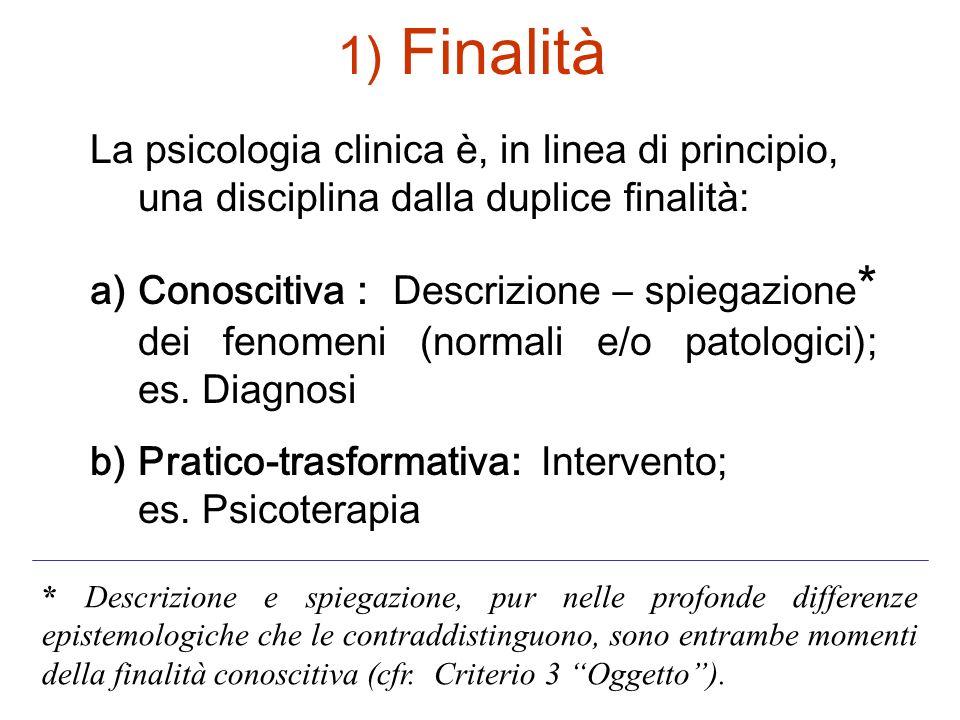 Finalità La psicologia clinica è, in linea di principio, una disciplina dalla duplice finalità: