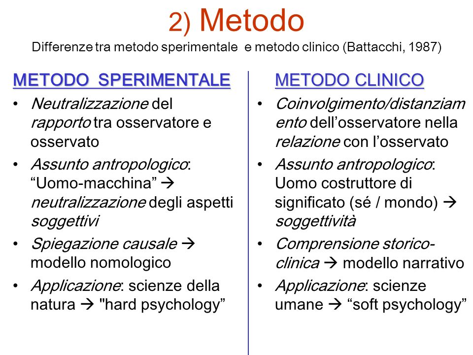 2) Metodo Differenze tra metodo sperimentale e metodo clinico (Battacchi, 1987)