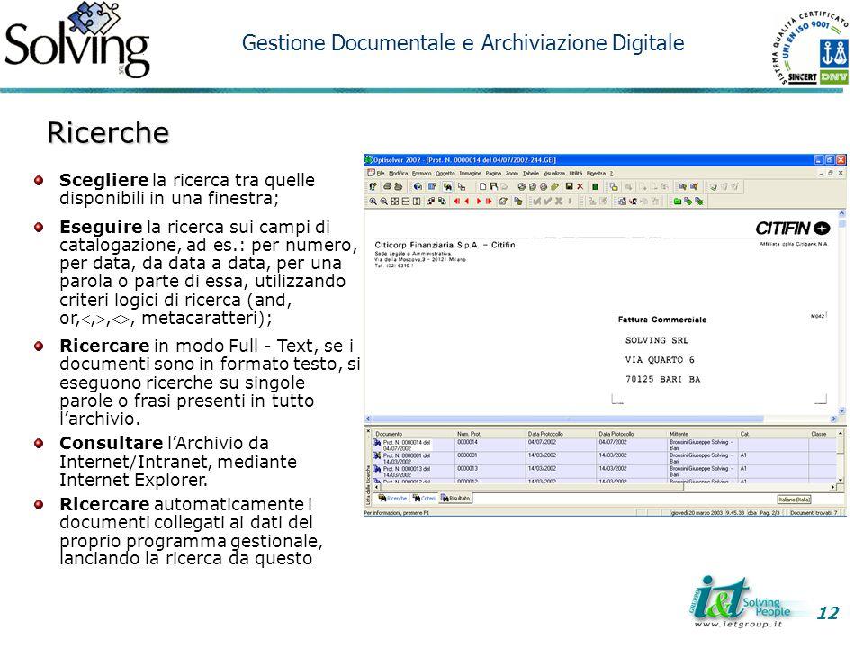 Ricerche Gestione Documentale e Archiviazione Digitale