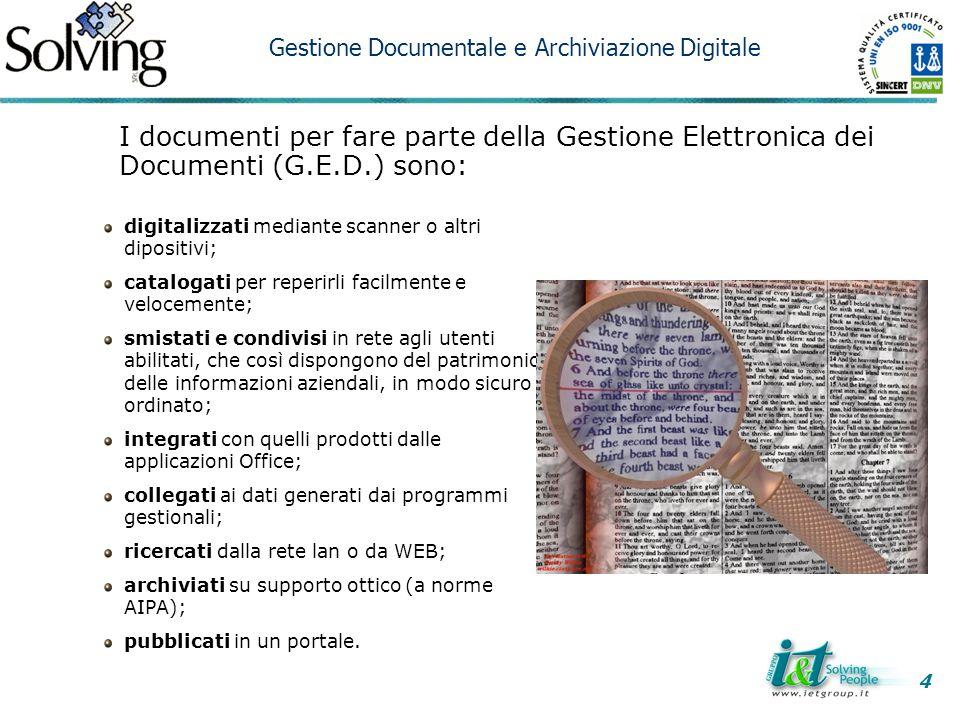 4 Gestione Documentale e Archiviazione Digitale. I documenti per fare parte della Gestione Elettronica dei Documenti (G.E.D.) sono: