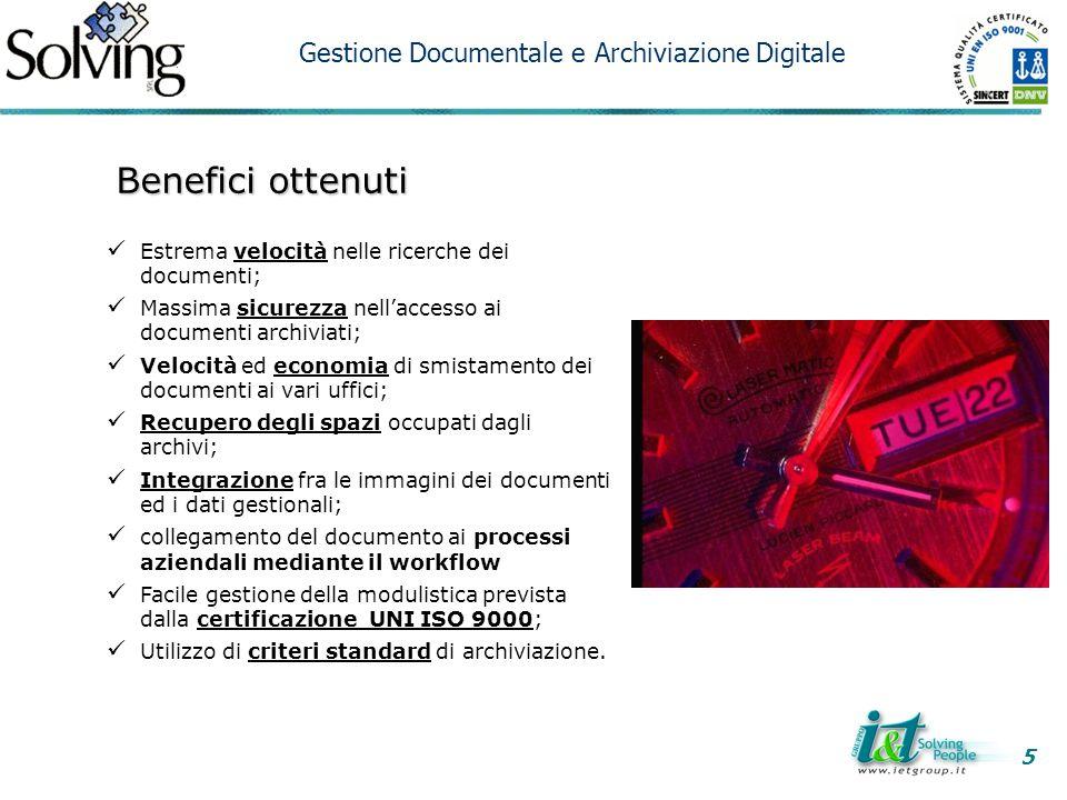Benefici ottenuti Gestione Documentale e Archiviazione Digitale