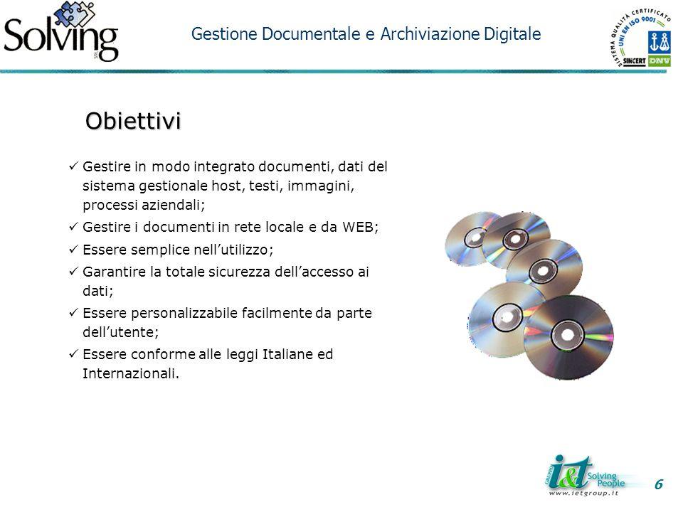 Obiettivi Gestione Documentale e Archiviazione Digitale