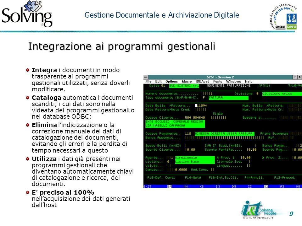 Integrazione ai programmi gestionali