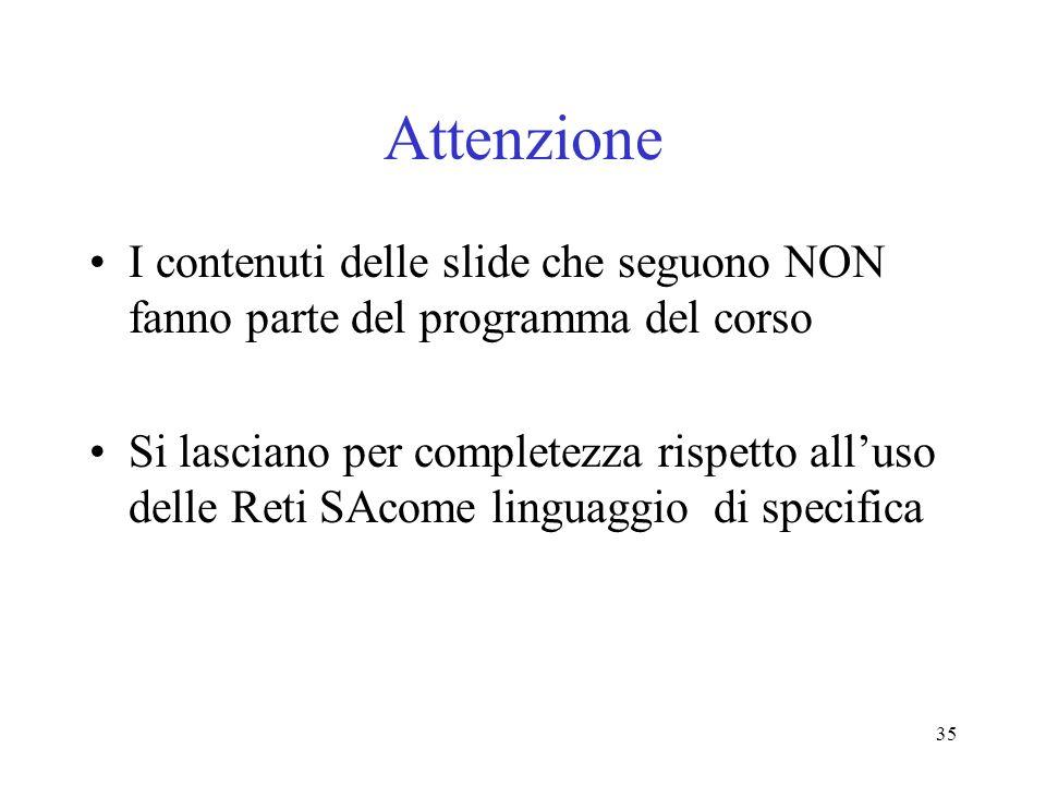 Attenzione I contenuti delle slide che seguono NON fanno parte del programma del corso.