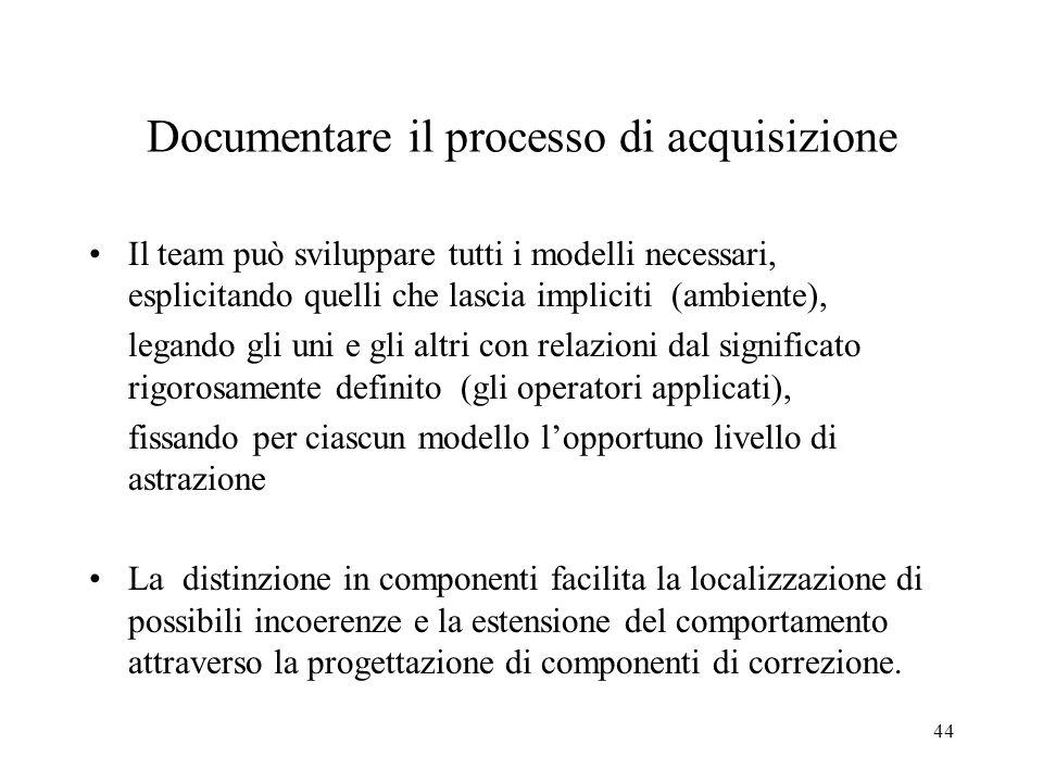 Documentare il processo di acquisizione