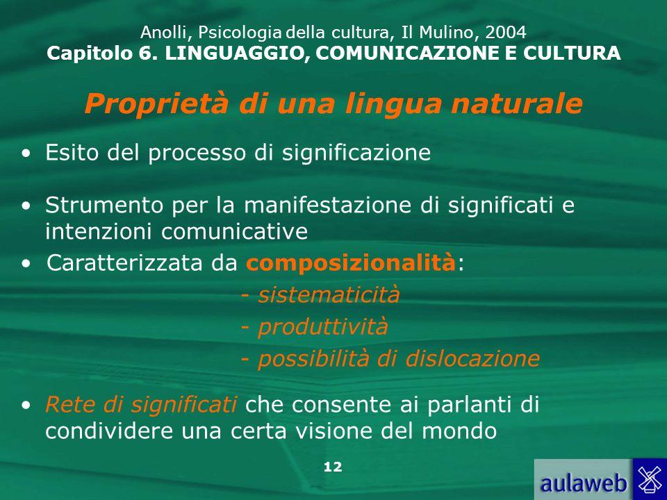 Proprietà di una lingua naturale