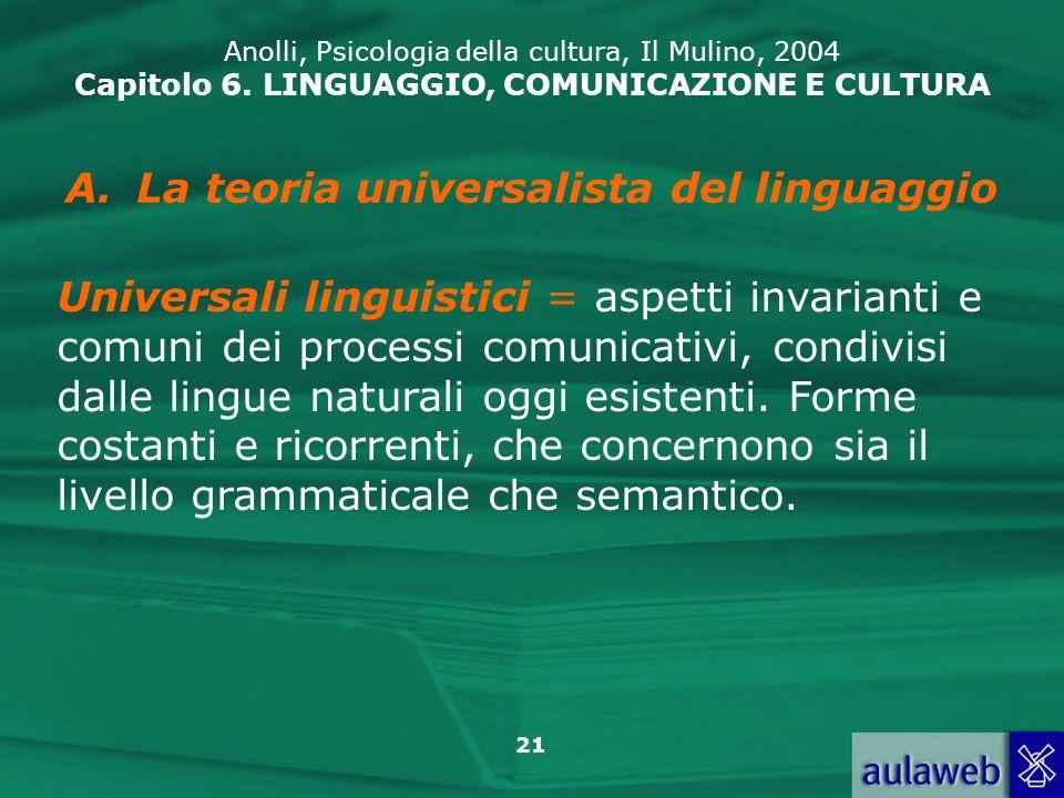 La teoria universalista del linguaggio