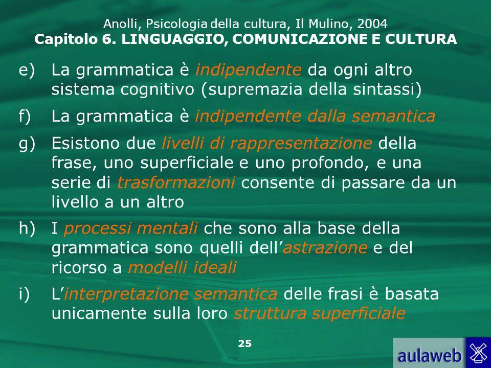 La grammatica è indipendente dalla semantica