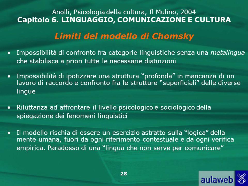 Limiti del modello di Chomsky