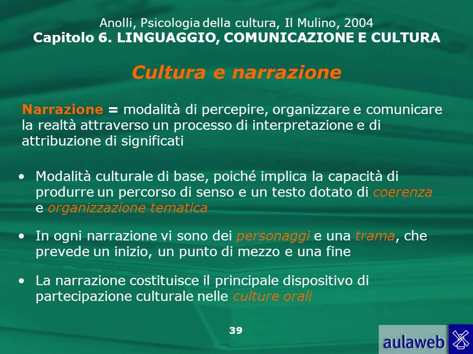Anolli, Psicologia della cultura, Il Mulino, 2004 Capitolo 6