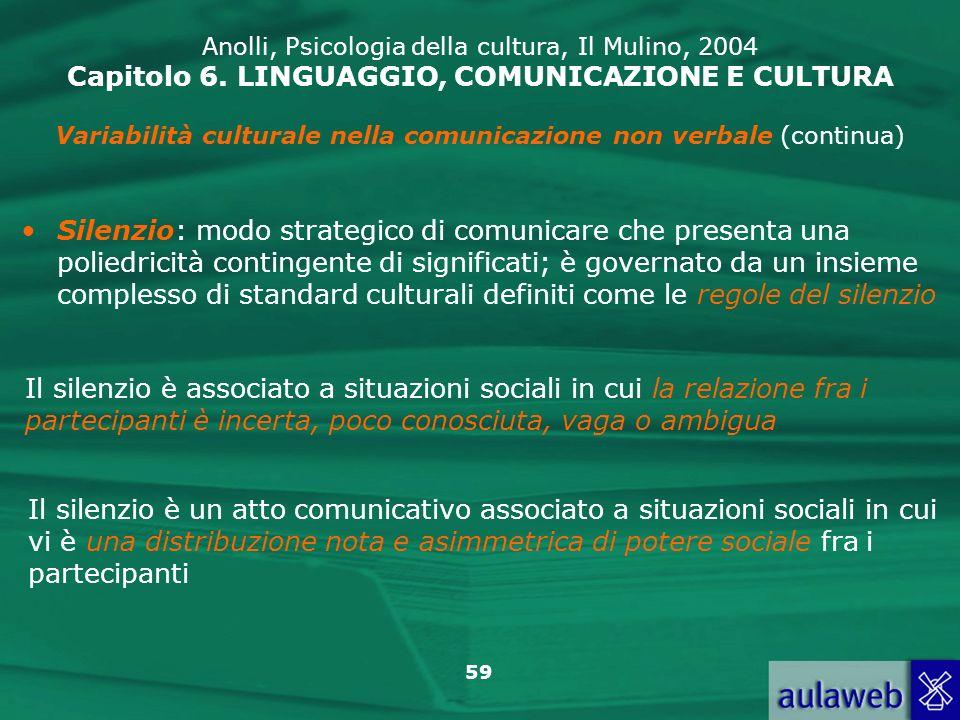Variabilità culturale nella comunicazione non verbale (continua)