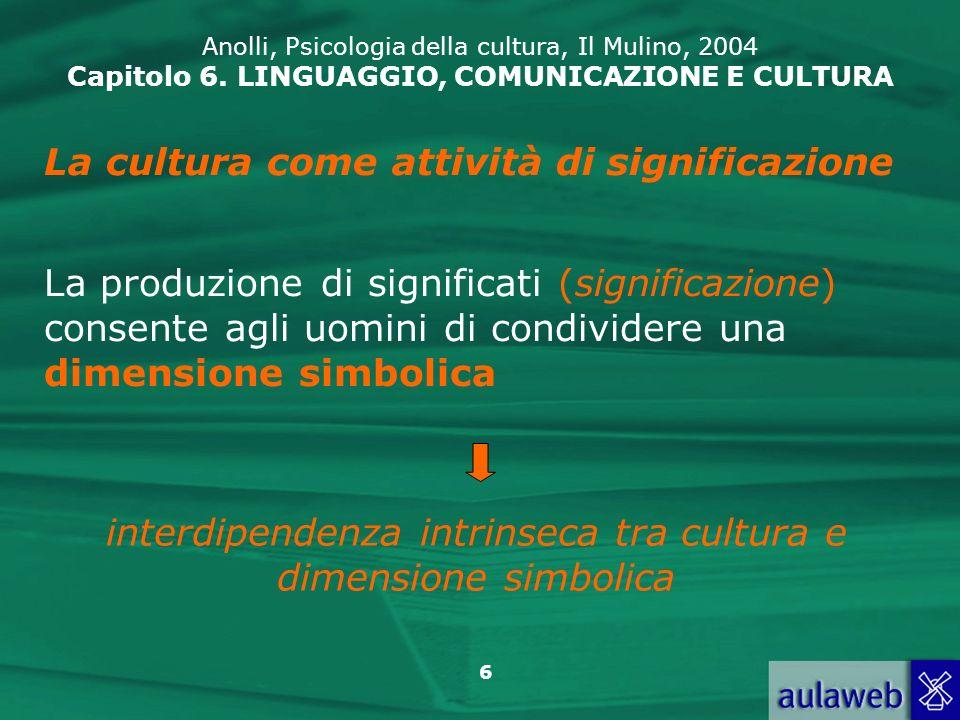 interdipendenza intrinseca tra cultura e dimensione simbolica