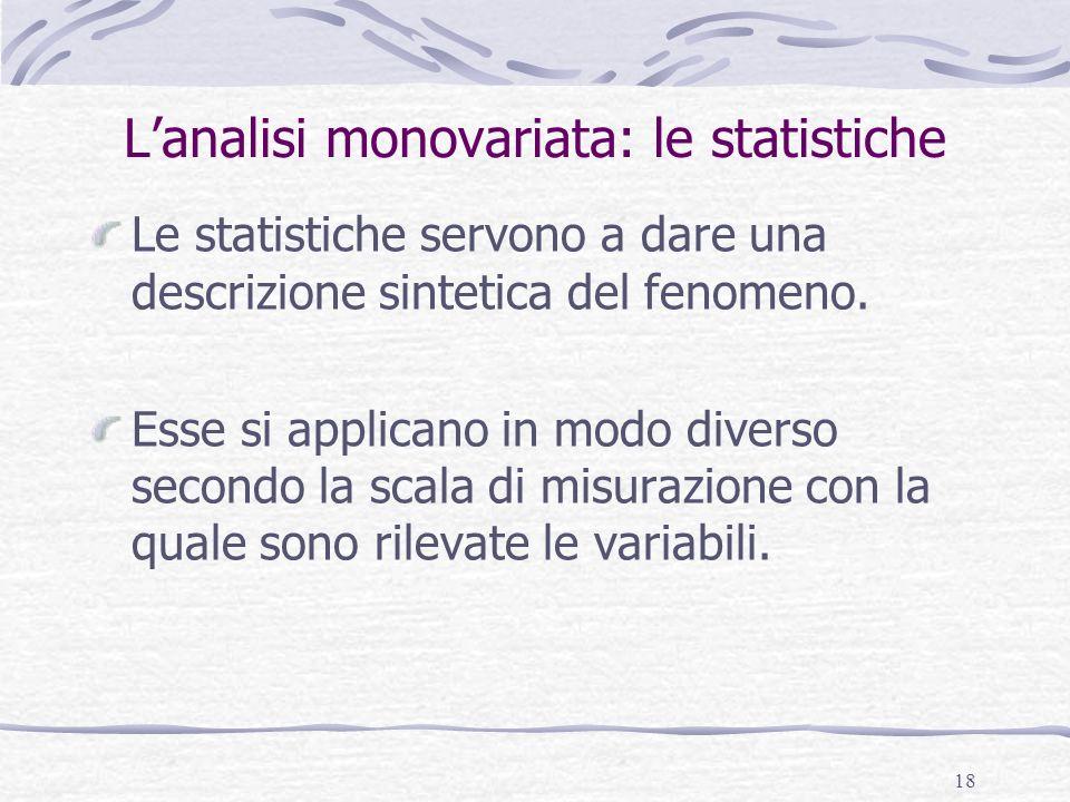 L'analisi monovariata: le statistiche