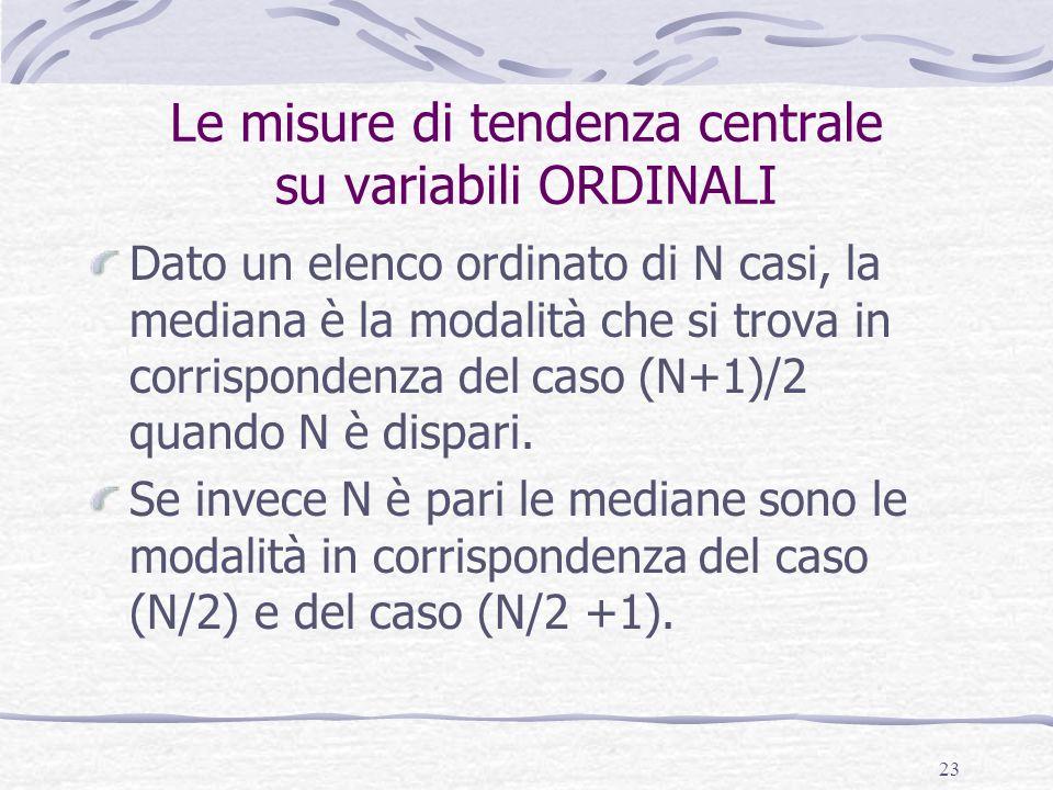 Le misure di tendenza centrale su variabili ORDINALI