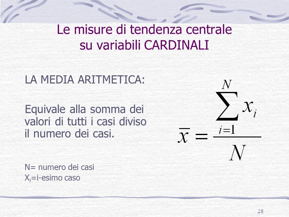 Le misure di tendenza centrale su variabili CARDINALI