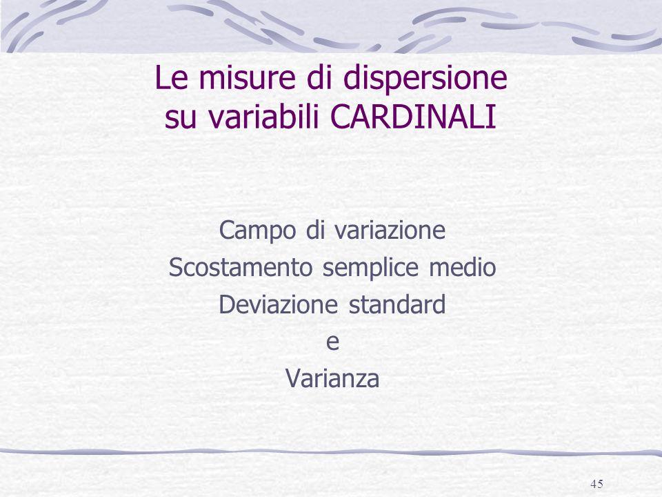 Le misure di dispersione su variabili CARDINALI