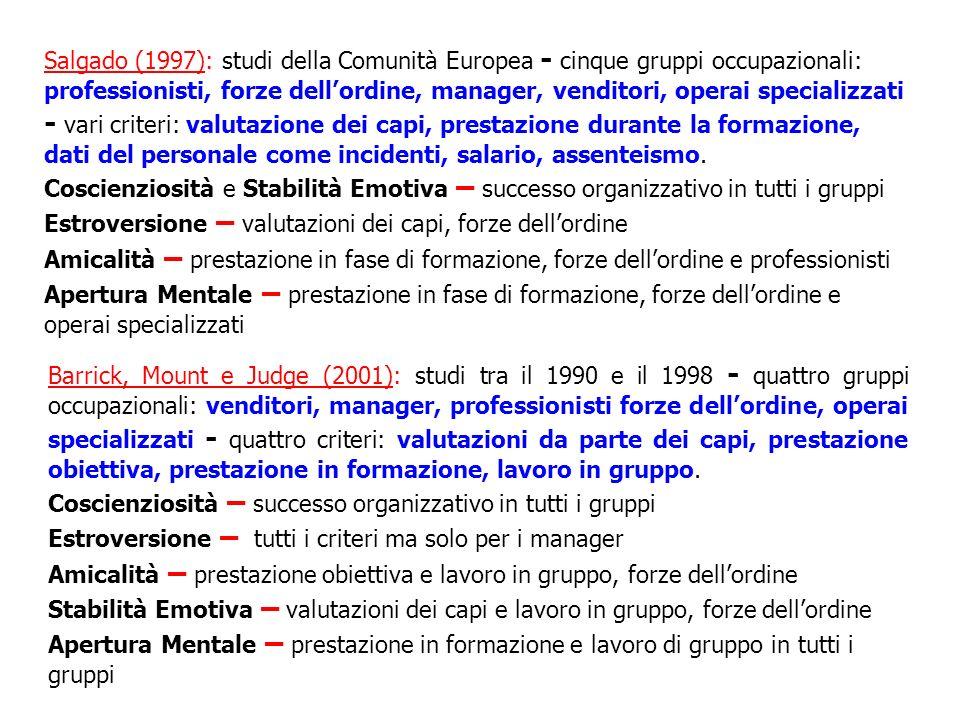 Salgado (1997): studi della Comunità Europea - cinque gruppi occupazionali: professionisti, forze dell'ordine, manager, venditori, operai specializzati - vari criteri: valutazione dei capi, prestazione durante la formazione, dati del personale come incidenti, salario, assenteismo.