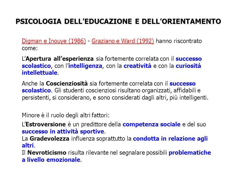 PSICOLOGIA DELL'EDUCAZIONE E DELL'ORIENTAMENTO