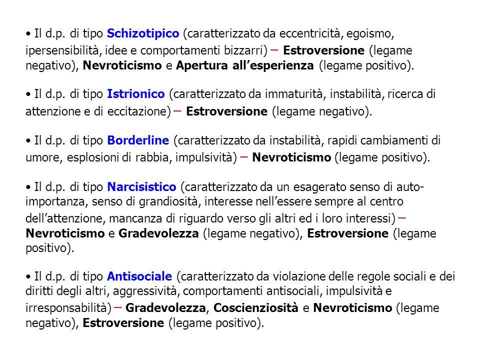 Il d.p. di tipo Schizotipico (caratterizzato da eccentricità, egoismo, ipersensibilità, idee e comportamenti bizzarri) – Estroversione (legame negativo), Nevroticismo e Apertura all'esperienza (legame positivo).