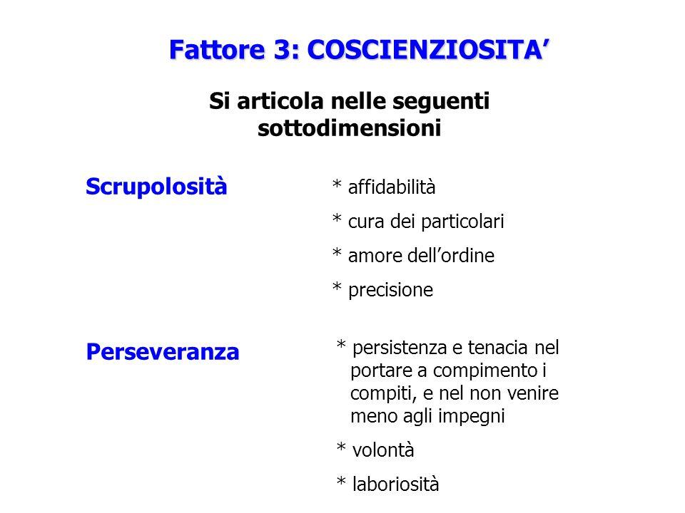 Fattore 3: COSCIENZIOSITA' Si articola nelle seguenti sottodimensioni