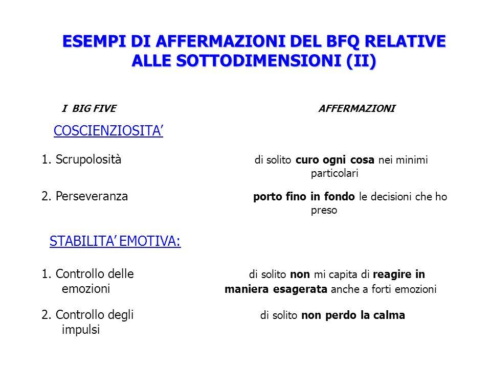 ESEMPI DI AFFERMAZIONI DEL BFQ RELATIVE ALLE SOTTODIMENSIONI (II)