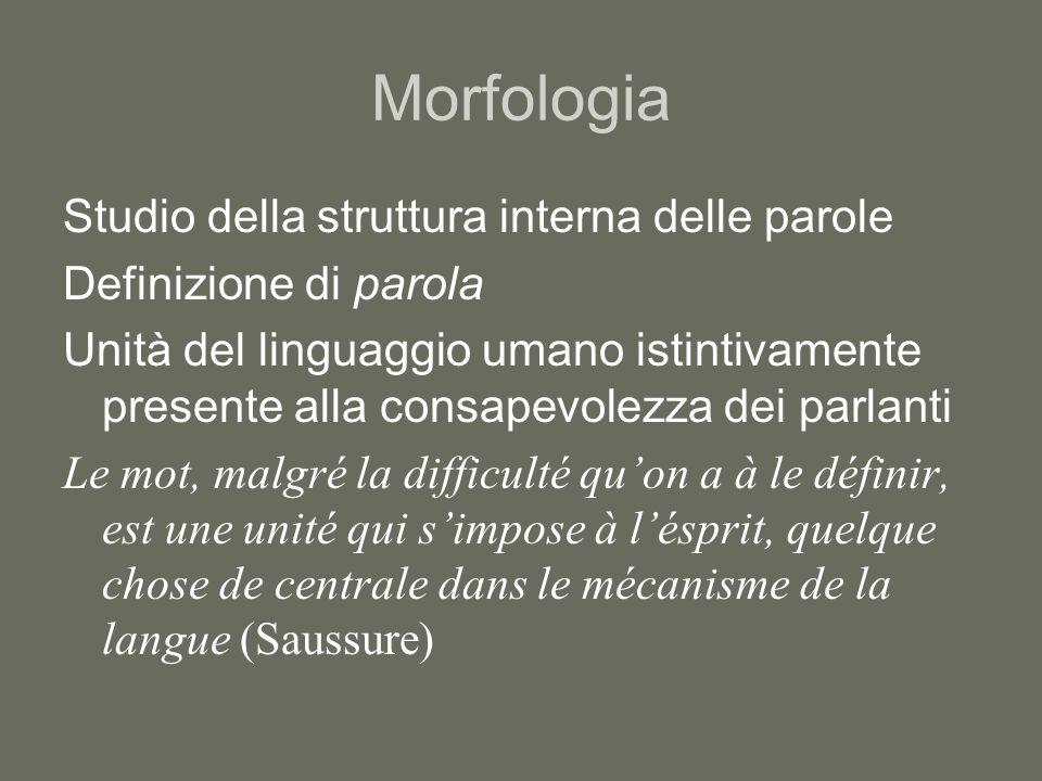 Morfologia Studio della struttura interna delle parole