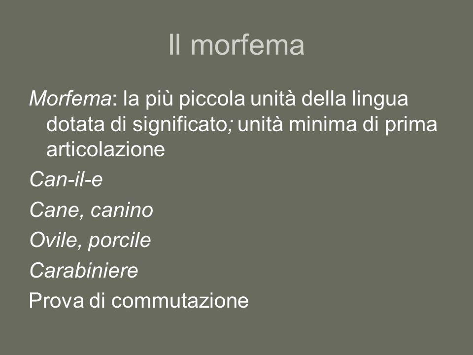 Il morfema Morfema: la più piccola unità della lingua dotata di significato; unità minima di prima articolazione.