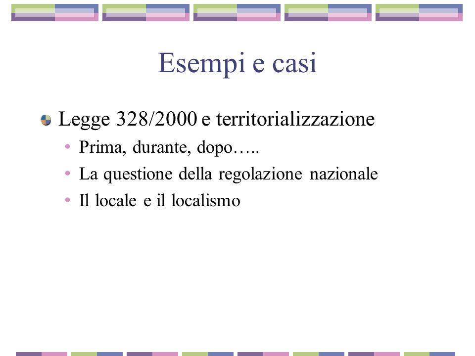 Esempi e casi Legge 328/2000 e territorializzazione
