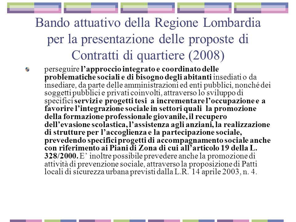 Bando attuativo della Regione Lombardia per la presentazione delle proposte di Contratti di quartiere (2008)