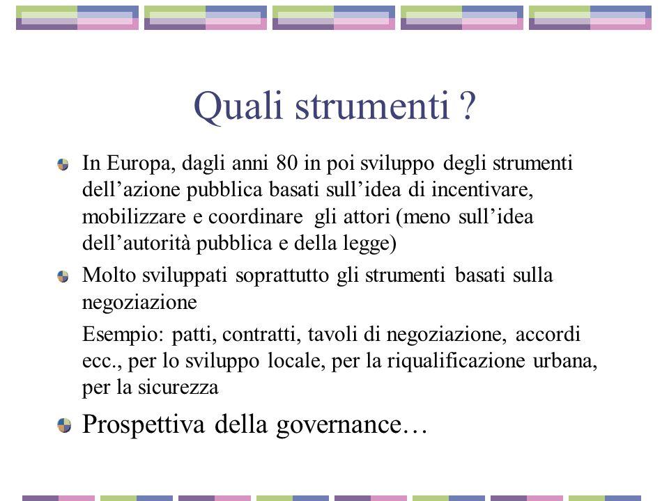 Quali strumenti Prospettiva della governance…